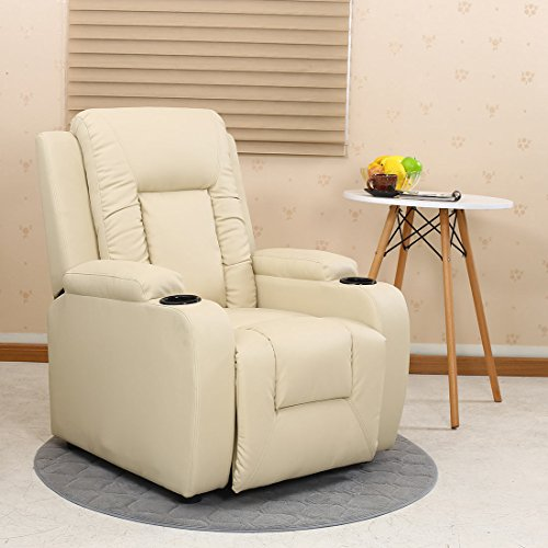 OSCAR LEATHER RECLINER w DRINK HOLDERS ARMCHAIR SOFA CHAIR RECLINING CINEMA (Cream)