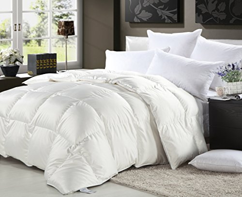 1000 Thread Count Queen 1000TC Goose Down Comforter 750FP, White 1000 TC