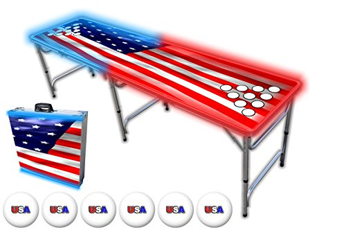 8-Foot Beer Pong Table w/ Cup Holes & Glow Lights - America Graphic (Glow Beer Pong Cups compare prices)