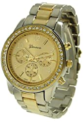 Gold Silver Geneva Crystal Rhinestone Chronograph Watch with Two Tone Metal Link Band