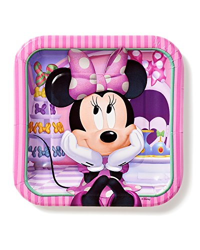 Minnie Mouse Bowtique 7 in Square Plate, Pack of 8, Party Supplies