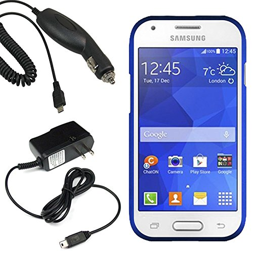 Highest Rated Wireless Inc. Hard Shield Shell Cover Snap On Case For Straight Talk, Tracfone, Net 10 Samsung Galaxy Ace Style S765C + Car + Home Charger-Blue