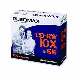 Samsung Pleomax 10X CD-RW 80min 10pkSlim Jewel Case