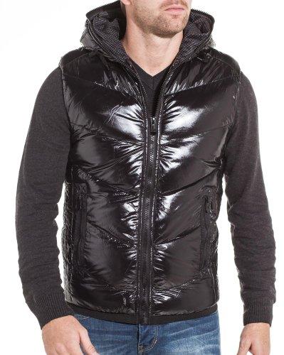 Gov denim - winter jacket Men Hooded Black - Size: XXL