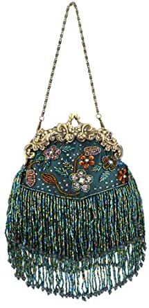 MG Collection Green Vintage Seed Bead Flowers / Tassles Evening Clutch Handbag
