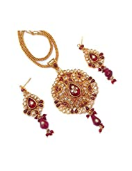 CS Red Elegant Kundan Meena  Polkli Fusion Pendant Set For Women