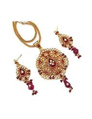 CS Red Elegant Kundan Meena  Polkli Fusion Pendant Set For Women