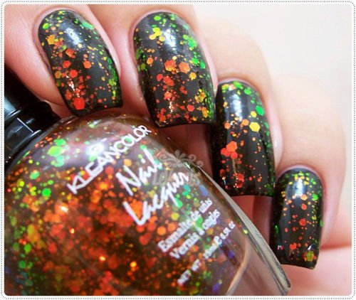 New Kleancolor Chunky Holo Black (#236) Nail Polish Lacquer Glittery Effect (Clear Pink Tint Nail Polish compare prices)