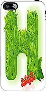 Snoogg Vector Grass Letter Designer Case Cover For Apple Iphone 5C / 5C