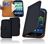 Alternate Cases PU Leder Book Style Tasche Flip Case f�r das Samsung GT-i9300 Galaxy S3 / GT-i9305 S3 LTE Etui Schutzh�lle Cover Wallet Case - integrierter Displayschutz - idealer Rundumschutz - alle Aussparungen vorhanden - Schutz vor Kratzer und Schmutz - schwarz / black Bi-Color