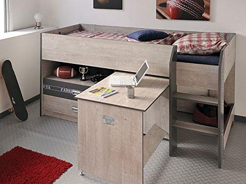 Hochbett, Jugendbett Fabien 9, 126x125x204cm, Esche-Grau, Jugendzimmer online kaufen