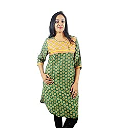 ShopMore Cotton Short Kurta(Green_Medium)