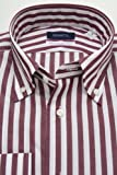 (スキャッティ) SCHIATTI 白 ガーネット ロンドンストライプ ブロード ボタンダウン (細身) ドレスシャツ bd3644