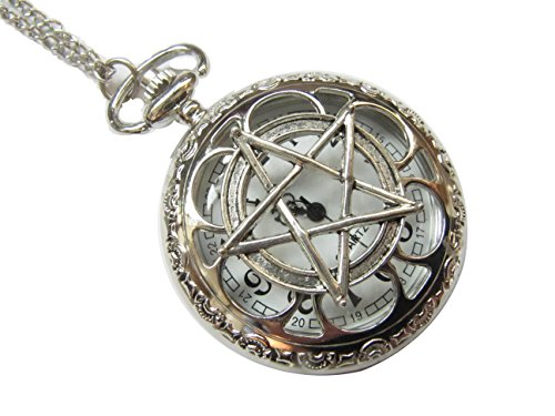 Pentagram Pocket Watch Necklace Supernatural Pentacle Pendant Protection Amulet Wiccan Jewelry (Supernatural Protection Amulet compare prices)