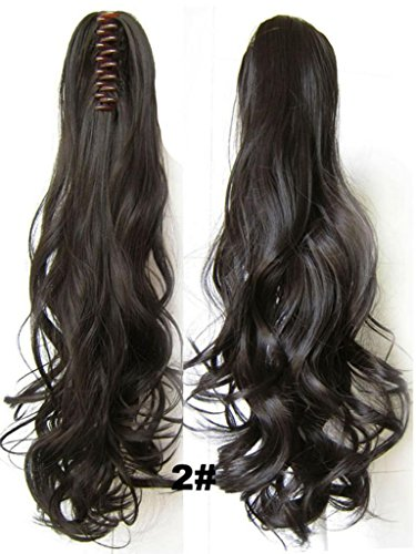 Beauty Wig World 20Inch 50Cm 100G Long Wave Curly Ponytail Hairpiece Extension Claw Clip On In Hair Piece - #2 Darkest Brown