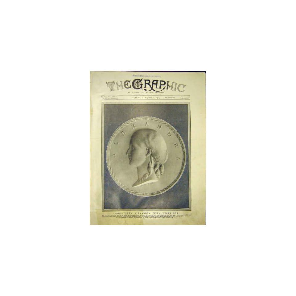Coin Queen Alexandra Seal Engraving Old Print 1913
