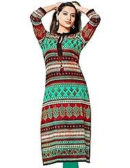 Yogalz Women Multi-Turquoise Color Crepe Casual Party Wear Kurti Girls Kurta