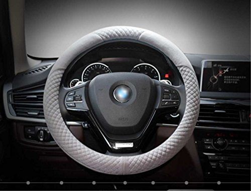 Steering Wheel Cover Made of Short Plush, Warmer Hands In Winter, Anti-slip, Odorless, 1.5lb, Fits 15