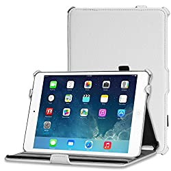 iPad Mini 2 Case, MOFI Premium Folio Series Slim Fit hand made Flip Cover Stand Book Case for Apple iPad Mini 2 (Auto Wake Sleep) White - White