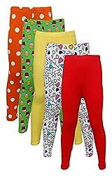 Little Stars Girls' Cotton Regular Fit Leggings- Pack of 5 (Po5L_109_32, Multi-Colour, 11-12 Years)
