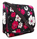 Womens Girls Floral School College Uni Travel Work A4 Messenger Shoulder Bag (Black/Grey/Pink/Purple) (Black)
