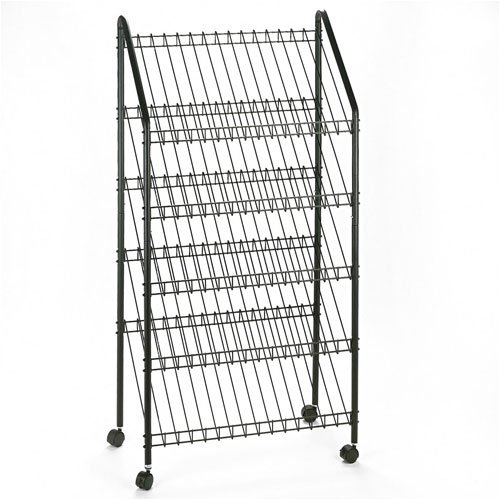 Safco® Five-Shelf Welded Wire Mobile Literature Display Rack, Charcoal