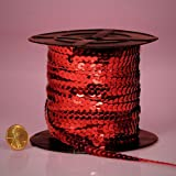 PEPPERLONELY Brand 80 Yard/Roll Metallic Flat Sequin Trim, Red