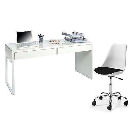 Hogar Decora - Mesa de escritorio con Silla Giratoria, blanco brillo, Medidas: 138 x 75 x 50 cm