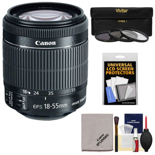 Canon Ef-S 18-55Mm F/3.5-5.6 Is Stm Zoom Lens With 3 Uv/Cpl/Nd8 Filters + Accessory Kit For Eos 60D, 7D, Rebel T3, T3I, T4I, T5I, Sl1 Digital Slr Cameras
