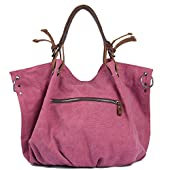 Tom Clovers Unisex Classy Look Canvas Oversized Vintage Hobo Simple Style Top Handle Genuine Leather Tote Handbag Shoulder Weekender Crossbody Bag