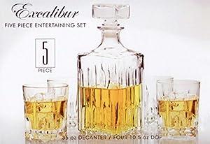 Italian Made Circleware Excalibur 5pc Whiskey Decanter Set