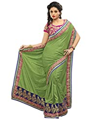 Alethia Green Manipuri Silk Heavy Embroidery Sarees With Unstitched Blouse
