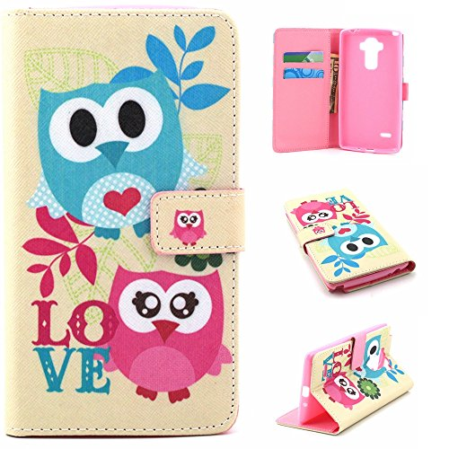 LG G Stylo/LG G4 Stylus (LS770), Easytop Flip Folio Wallet Case PU Leather With Foldable Kickstand Stand Cover Built-in Cards/Cash Slots Premium Leather (Owls Love)