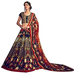 Bhelpuri Women Navy Blue Bhagalpuri Silk Semi-stitched Lehenga Choli