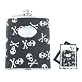 Black Skull & Crossbones Glitter Flask in Gift Box w/ Funnel