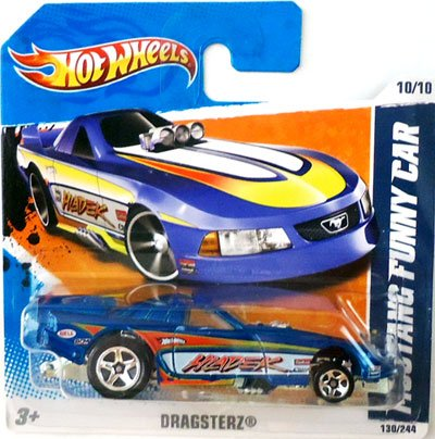 2011 Hot Wheels (Blue) MUSTANG FUNNY CAR #130/244, Dragsterz #10/10 (Short Card) - 1