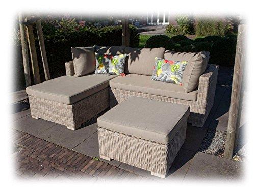 SIENNA Lounge Gartenmöbel Gartenset links 3-teilig Poly Rattan Sandgrau