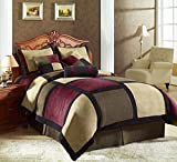Chezmoi Collection 7-Piece Solid Micro Suede Patchwork Duvet Cover Set, Queen, Brown/Burgundy/Black