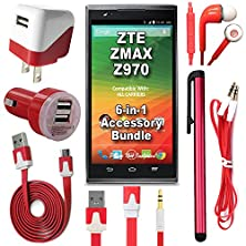 buy 441 Wireless 6 Item Accessory Bundle For Zte Zmax Z970 (Metro Pcs, T-Mobile) Includes: Car Charger, Home Charger, Data Cable, Headphones, Auxiliary Cord & Long Stylus Pen (6 Piece Kit - Red)
