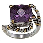 Sterling Silver Two-Tone Square Amethyst CZ Twisted Ring - Size 7 (Available in sizes 6 through 9)