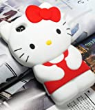 3D Hello Kitty Cute Soft Silicone Back Skin Case Cover for Apple iPhone 4 4S 4G Red