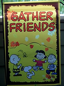 "SNOOPY PEANUTS ""Gather Friends"" FALL AUTUMN THANKSGIVING GARDEN FLAG 12"" X 18"""