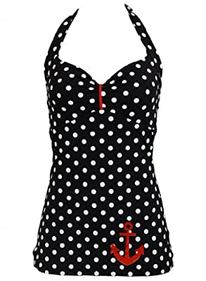PinupClothingOnline Women's Polka Dot Anchor Retro Pin up Sailor Swimsuit