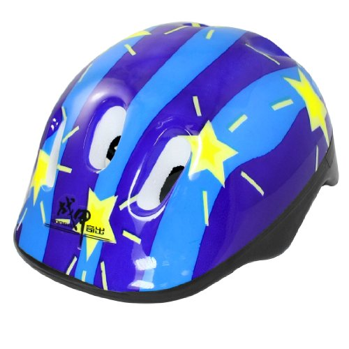 Como Yellow Star Pattern Blue Cycling Skating Sports Safety Helmet for Children