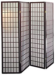 4 Panel Shoji Screen Room Divider Cherry Finish (Cherry) (71h X 70w)