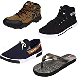 Bersache Men Combo Pack Of 4 Sports With Casual Shoes,Loafer & Moccasins & Flip-Flops (8 Uk)