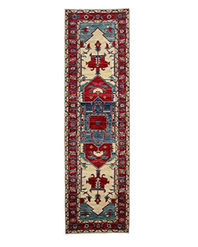 "Darya Rugs Transitional Hand-Knotted Rug, Red, 2' 10"" x 9' 8"" Runner"