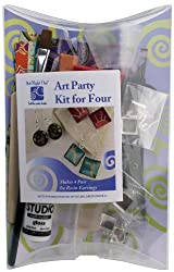 Art Night Out Party Kit for 4 People Makes 4 Pair Square Resin Earrings in Silver Plate