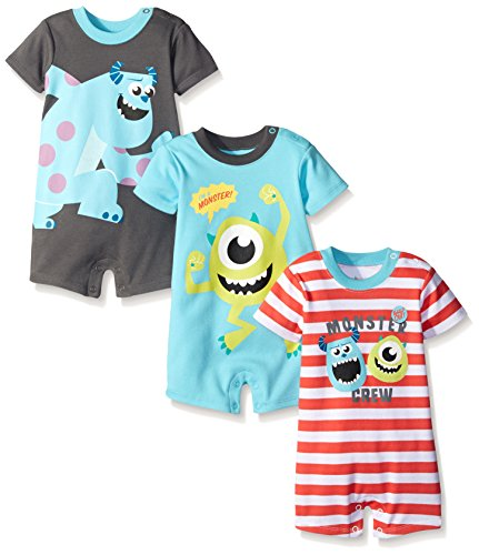 Disney Baby Monsters Inc Sully and Mike 3 Pack Rompers, Blue, 6-9 Months (Baby Monsters Inc)