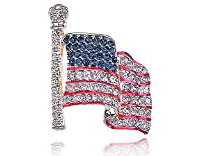 Genuine Crystal Rhinestone America USA Flag Fashion Costume Jewelry Pin Brooch